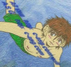 水中で、軽く海老反り (^^;