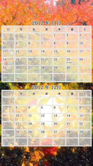 2012年 11/12月 カレンダー / HD